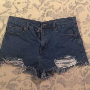 Forever 21 Ripped High Waisted Jean Shorts